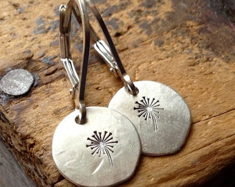 A Wish • SMALL Sterling Silver earrings • SMALL earrings . hammered silver discs • Dandelions • wishing • metalwork earrings • hippie • boho