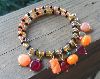 Memory Wire Dangle Bracelet in Harvest Colors and Gold