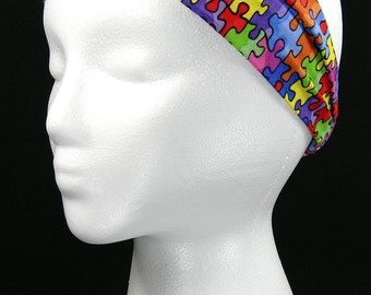 Autism Awareness Puzzle headwrap/headband (Handmade in the United States)