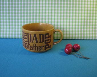 Dad Cup - Soup Mug - Typography Mug - Stoneware Soup Cup - Fathers Day Gift - Vintage 1970's