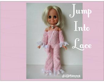 Vintage Ideal VELVET Doll CLOTHES -  retro Jumpsuit + Purse + heart Choker - Handmade Custom Fashion - by dolls4emma