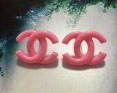 26 x 16mm Pink Fancy Designer Logo Earring