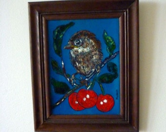 Exceptional Enamel / Vintage Wall Art / Bird and Cherries / 1970's Framed Enamel Wall Plaque / Austrian Art