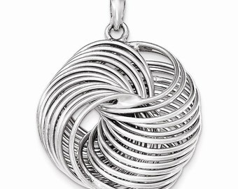 Sterling Silver Polished Multi-ring Pendant