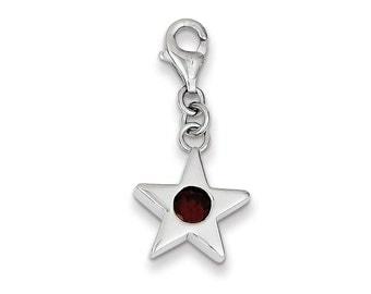 Sterling Silver January CZ Birthstone Star Charm