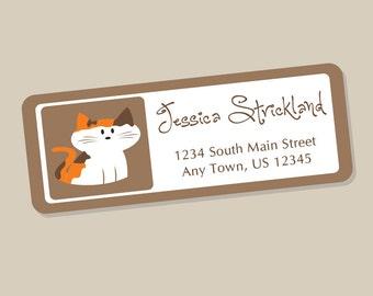 Calico Cat Address Labels, Return Address Labels, Address Stickers, Cat Labels, Personalized Address Labels, 60 Labels, Calico