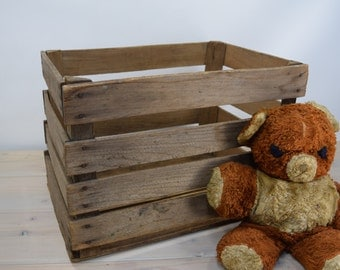 Wooden Fruit Crate Box, Rustic, Wood Fruit Crate