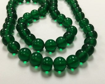 50 Vintage Glass Emerald Green 8mm. Smooth Round Beads 4571