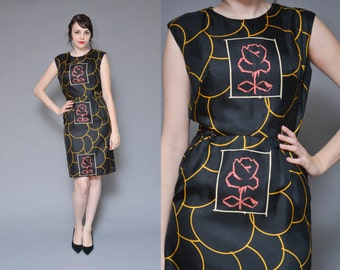 60s Wiggle Dress 1960s Sheath Dress Black Mod Dress M L Satin Geometric Print Rose Floral Print Sleeveless Midi Silk Dress