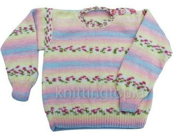 Classic round neck jumper hand knitted in self patterning pink yellow and lilac yarn 26 inch chest girls multicolour - knitted girls clothes