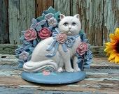 1990 Vintage Cast Iron Door Stop White CAT