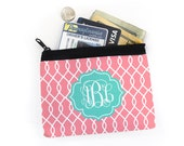 Monogrammed Coin Purse - Salmon Pink, Turquoise, Linked, Lotus