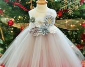 White and Silver Sparkle Christmas Tutu Dress - infant thru girls 10