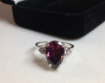 BEAUTIFUL 5ct Rhodolite Garnet & White Sapphire 14kt Gold Sterling Silver Ring Size 5 6 7 8 9 Sizing Pear Cut Rhodolite Garnet Ring