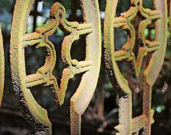 Rusty Fence in a Cemetery, Bonaventure Cemetery (Savannah, Georgia), Gothic, Rust, Aged, Ornate, Dark, Fine Art Photography