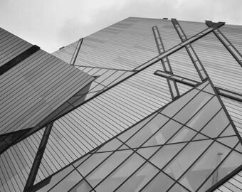 Meet the Sky.   Glass Skyscraper Against Gray Sky B&W Geometric Modern Fine Art Print 8x10