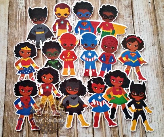 African American Superhero Cupcake Toppers Set Of 16