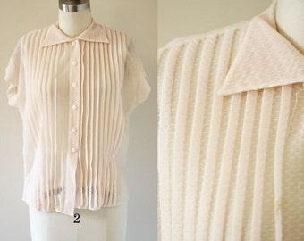 1950s Peach Nylon Blouse // shortsleeve blouse // 1960s blouse