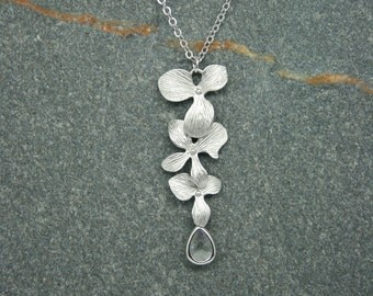 Orchid and crystal necklace, bridal necklace,  crystal necklace, bridesmaid necklace, long flower and crystal necklace, wedding jewellery