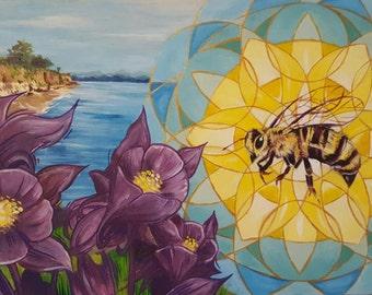 Bee pollinating purple flowers on the Pacific highway coastline