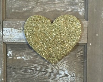 Gold Glitter Valentine Heart Decor, Wall Decoration