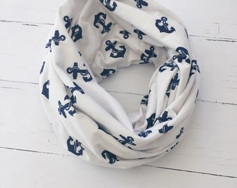 Anchor Infinity Scarf/Nautical Scarf/Loop Scarf/Gift for Her