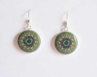 Polymer clay milefiori cane earrings