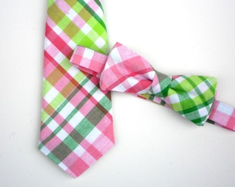 Easter tie for boys, baby easter bow tie, pink and green tie, toddler boy easter outfit, boys easter clothes, easter neck tie, pastel tie