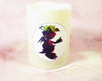 Flameless Candle for Kids Room Featuring 'Movi' the Muave & Green Monster Kid, Battery-Operated Flameless LED Candle. A Great New Baby Gift!