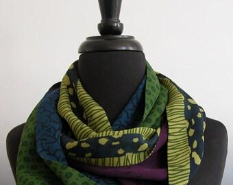 Soft Georgette Silk Infinity Scarf In Jewel Tones