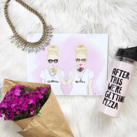 Girlboss Besties Print, girl boss illustration, Girl Boss Art, Bossy Babe Art, best friends art, besties print, besties art, girl boss print