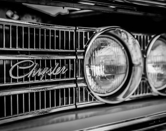 Chrysler, Photography,  fine art Photography, Black and white, wall art, home décor, car photography, vintage, cars, auto, gift, print