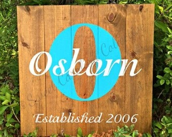 Wood Established Monogram Sign- HD-35