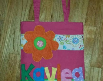 Medium Personalized Kids Tote Bag, Girl Tote Bag, Canvas Tote Bag, Reversible Bag, Tote Bag for Kids, Bookbag, Birthday, Flower Girl Present
