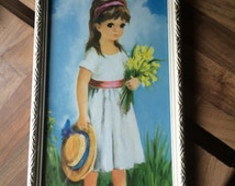 Vintage Big Eye Dallas Simpson Framed print of Little Girl holding Flowers and a hat