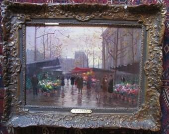 EDOUARD CORTES 1887-1969 Fine Original Oil on Canvas French Marche Aux Fleurs