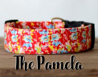 "Feminine Floral Red, Yellow & Blue Girly Vintage Inspired Dog Collar""The Pamela"""