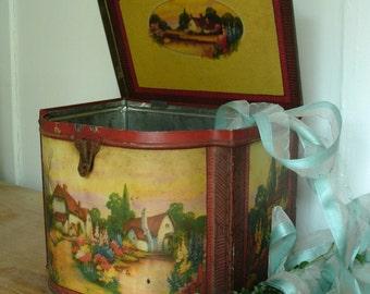 "Lovely large vintage cottage garden tin ""Old English Workbox""."