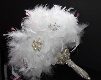 White Feathers Brooch Bouquet Silk Roses Wedding Bridal