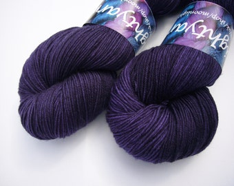 Yarn sock weight Hand dyed 100% Superwash Merino- Midnight is a place