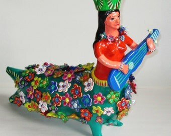 Huge Clay Mermaid Sculpture by Gerardo Ortega Mexican Folk Art