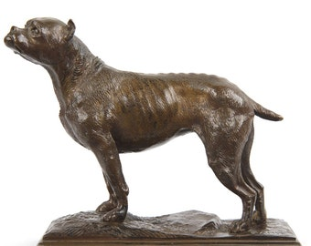 Antique French Bronze Sculpture of a Bull Terrier Dog signed Barye, 20th Century, 411SRZ29