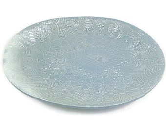 Aqua Platter, Ceramic Oval Platter, Hostess Gift, Light Blue Kitchen Décor, Large Serving Dish, Ceramic Serving Tray, Party Platter