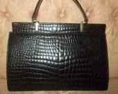 ON HOLD Super vintage huge black crocodile handbag