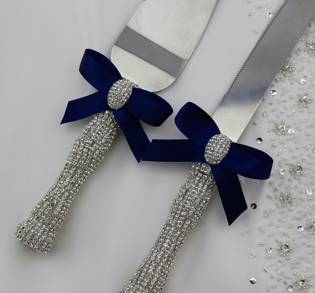 your color wedding cake knife and server set rhinestone. Black Bedroom Furniture Sets. Home Design Ideas