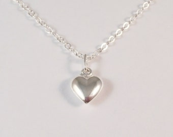 Sterling Silver Heart Necklace, Sterling Silver Small Heart Necklace, Sterling Silver Puff Heart Necklace, Small Heart Necklace,
