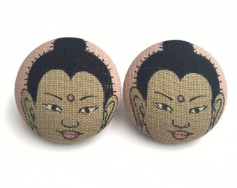 Buddha heads fabric button earrings