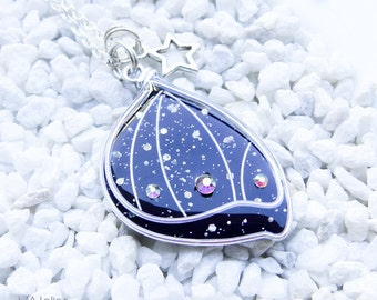Pixie - Fairy Wing pendant - Shape 1 Silver / Galaxy Black