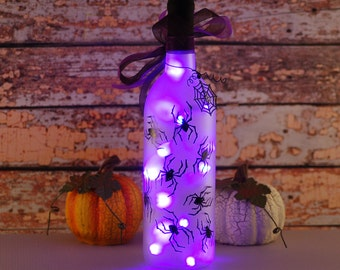 Halloween purple and black spider wine bottle light, hand painted