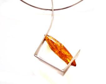 Baltic Amber Necklace, Amber Pendant, Butterscotch Amber Silver Pendant, Sterling Modernist Design, Artisan Wearable Art